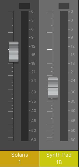 Figure. Curseurs de volume.