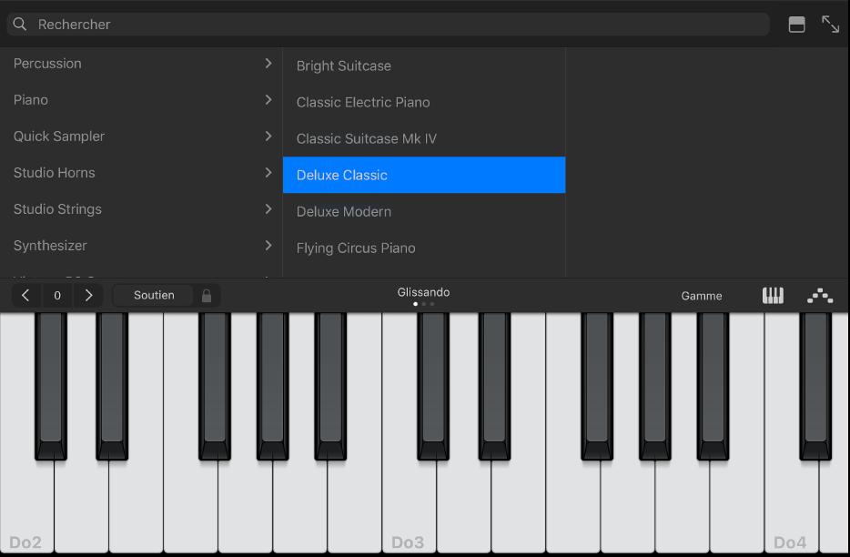 Figure. Instrument Touch Clavier avec bibliothèque.