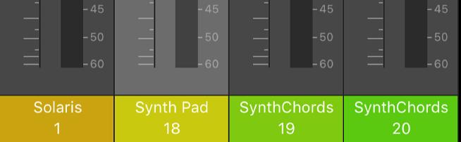 Figure. Zone inférieure des tranches de console indiquant le nom et le numéro.