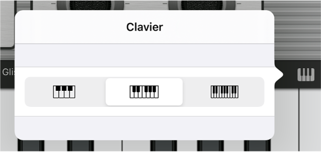 Figure. Menu local de taille du clavier.