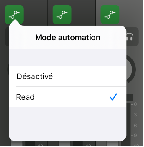 Figure. Menu local Mode d'automation.