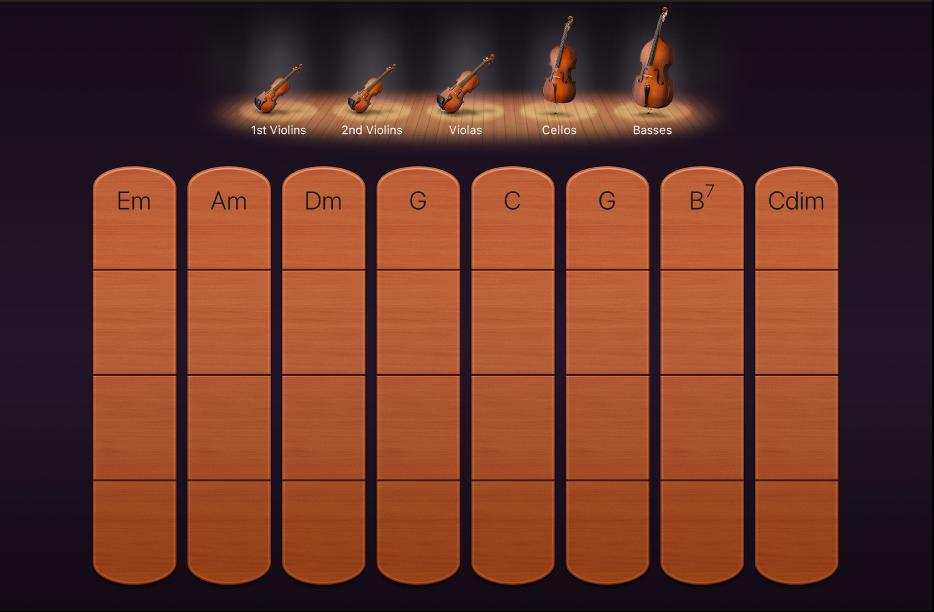 Obrázok. Akordové pruhy sláčikových nástrojov.