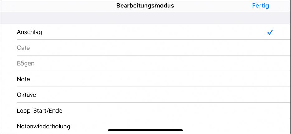 """Unterzeile mit dem Menü """"Bearbeitungsmodus""""."""