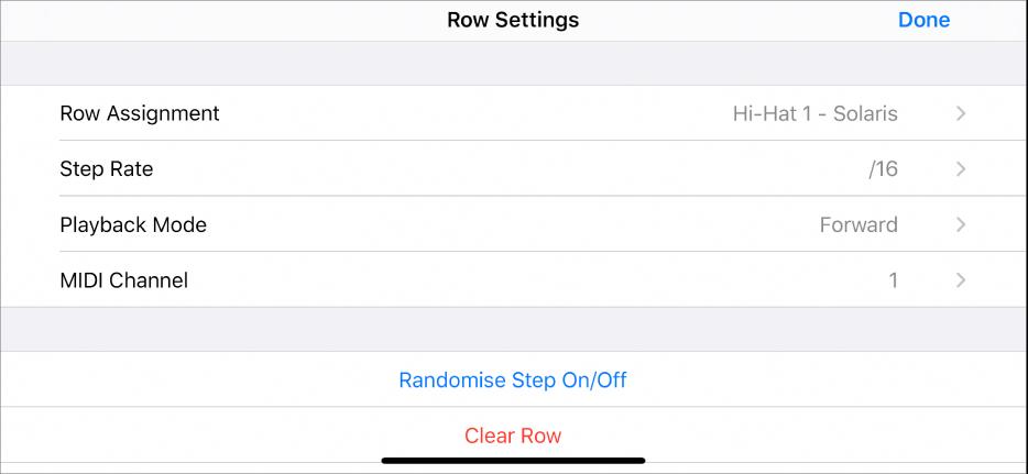 Row Settings menu.