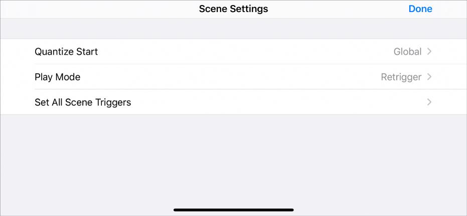 Scene Settings menu.