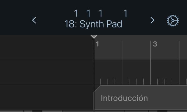 Ilustración. La regla, el cursor de reproducción y el marcador debajo de la pantalla de la barra de controles.