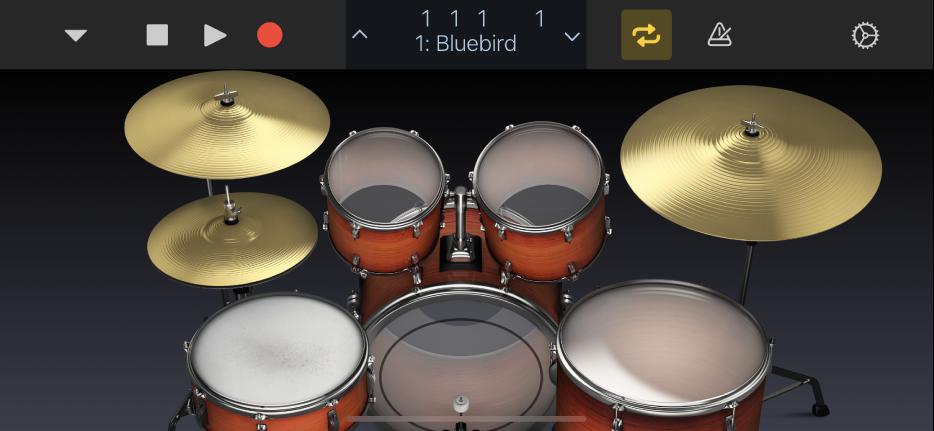 Ilustración. Kit de percusión acústico.