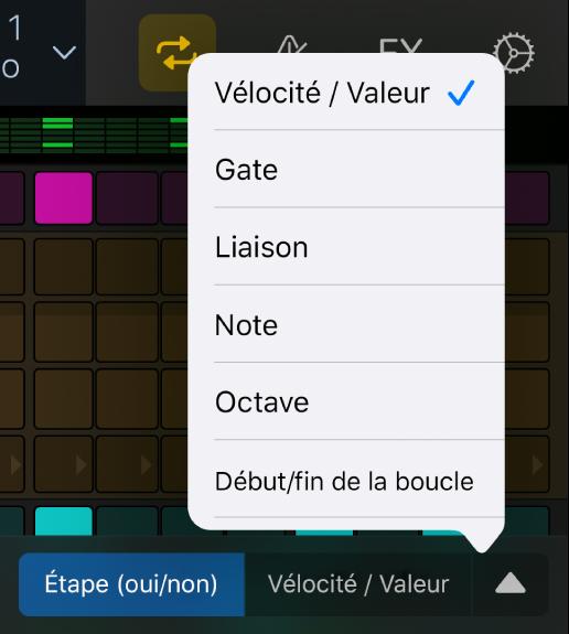 Sélecteur de modes d'édition avec menu ouvert affichant des modes d'édition.