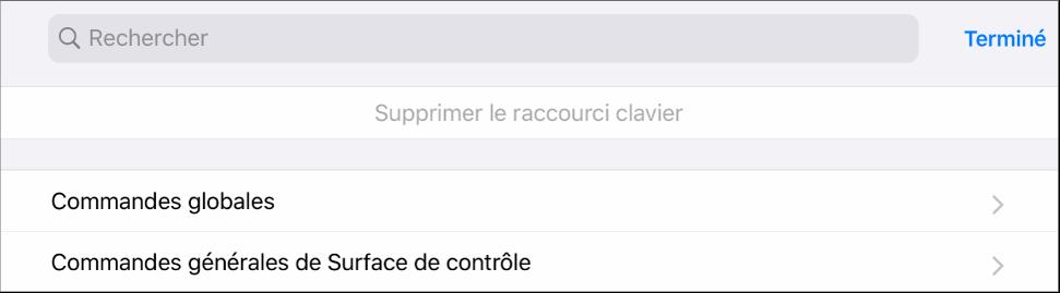 Figure. Volet Raccourcis clavier.