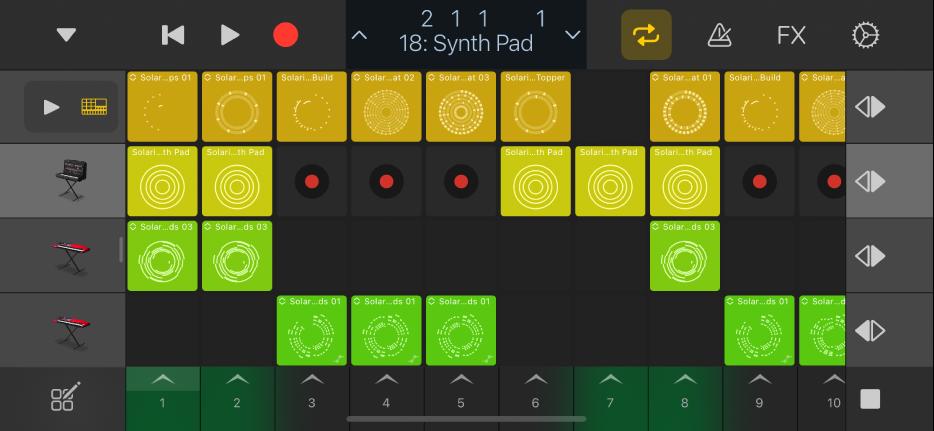 Slika. Live Loops rešetka za iPhone.