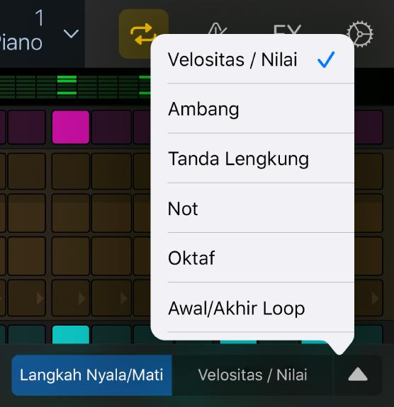 Pemilih Mode Edit dengan menu dibuka, menampilkan mode edit.