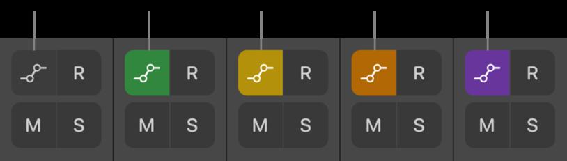 図。5つのオートメーションモードを示す「オートメーションモード」ボタン。