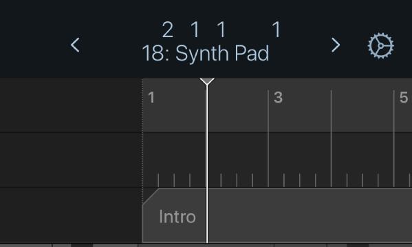 Figura. A régua e o cursor de reprodução por baixo da barra de controlo.
