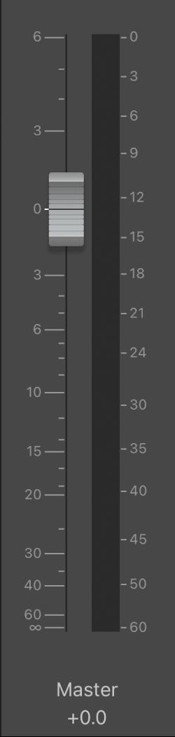 圖表。「主音量」推桿。