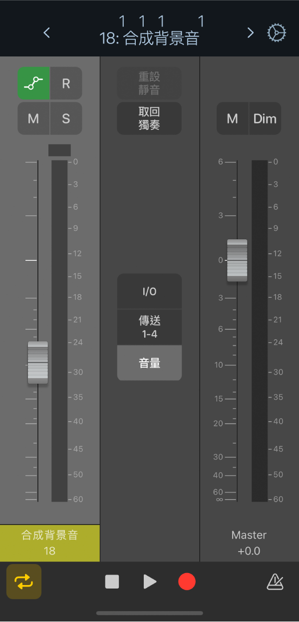 圖表。預設「混音器」顯示方式。
