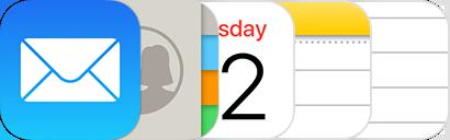 Ikonerne for Mail, Kontakter, Kalender, Noter og Påmindelser.