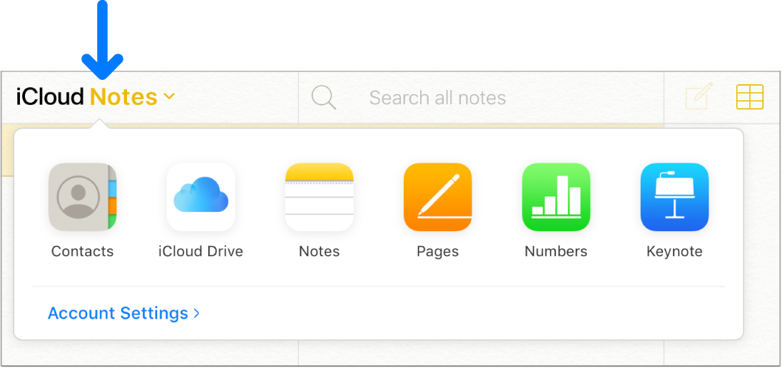 iCloud 창의 왼쪽 상단 모서리에 있는 iCloud 메모를 가리키는 화살표 앱 선택 화면이 열려 있고 연락처, iCloudDrive, 메모, Pages, Numbers, Keynote 및 계정 설정이 표시됩니다.