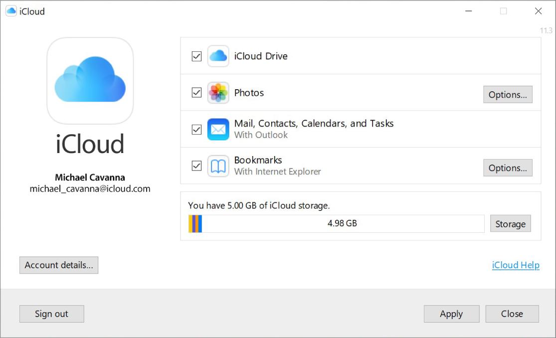 Okno aplikace iCloud proWindows sezaškrtávacími políčky profunkce iCloudu.