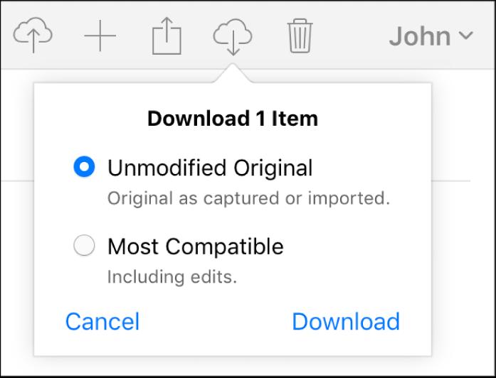 Dialog til download af et foto eller en video med mulighed for at downloade den uændrede originale version eller den mest kompatible version.