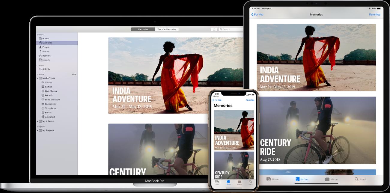 En MacBookPro, iPad og iPhone med Fotos-appen åben. Hver viser de samme to hukommelser: India Adventure og Century Ride.