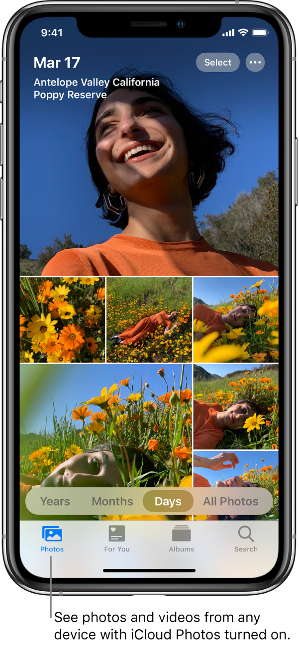 """The Photos app on an iPhone open to the Photos tab with the Days view selected. A line points to the Photos tab with the callout """"See photos and videos from any device with iCloud Photos turned on""""."""