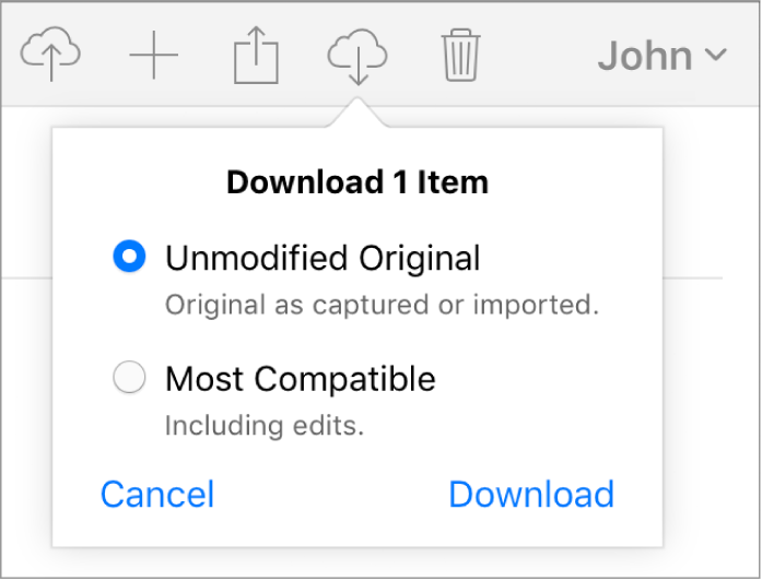 The dialogue for downloading a photo or video, with options to download the unmodified original version or the most compatible version.