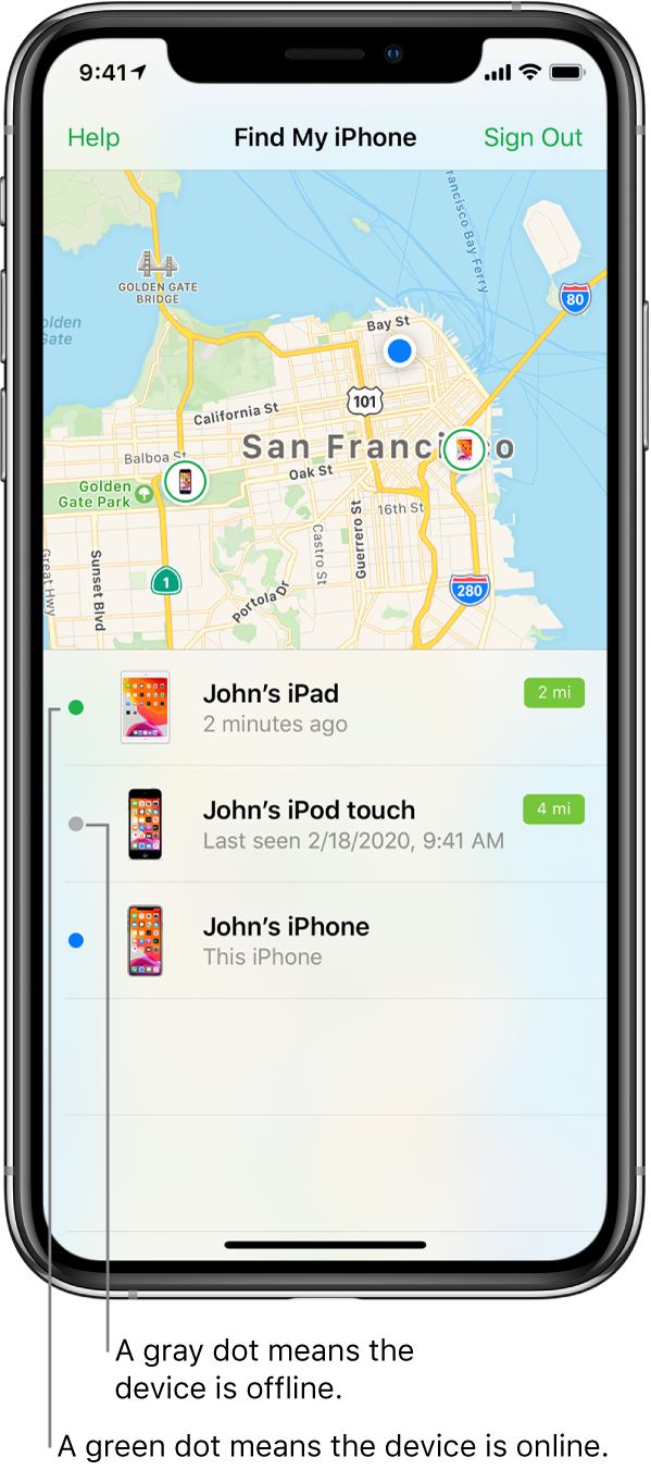The Find My iPhone app open on an iPhone. The locations of three devices are shown on a map of San Francisco. John's iPad is indicated by a green dot because it's online. John's iPod touch is indicated by a grey dot because it's offline. John's iPhone is sharing his current location.