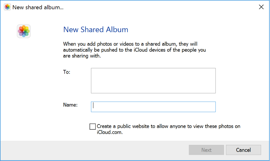 The New Shared Album window on a Windows computer. All the fields are blank.