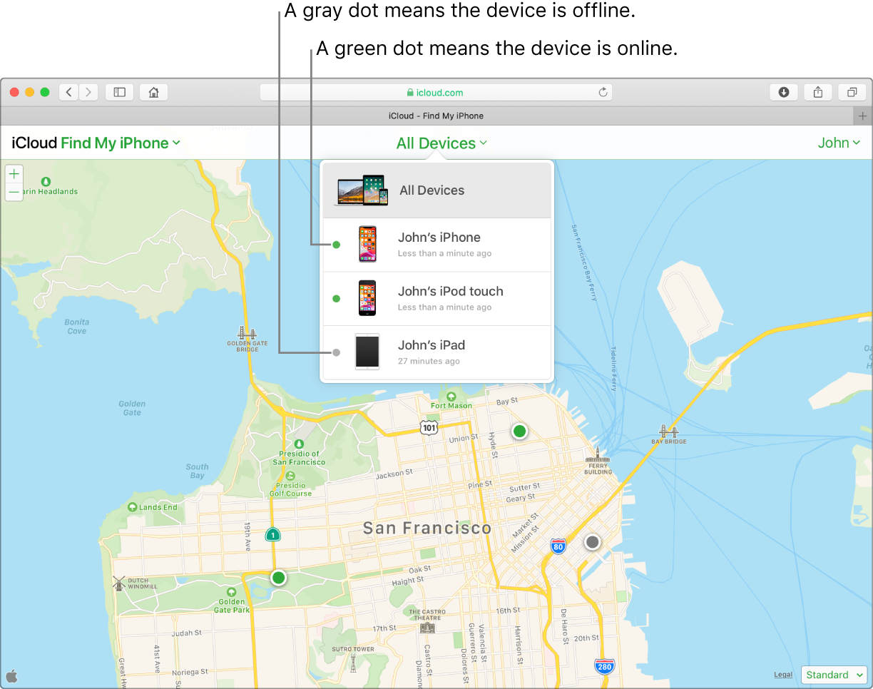 Find My iPhone on iCloud.com open in Safari on a Mac. The locations of three devices are shown on a map of San Francisco. John's iPhone and John's iPod touch are online and indicated by green dots. John's iPad is offline and indicated by a grey dot.