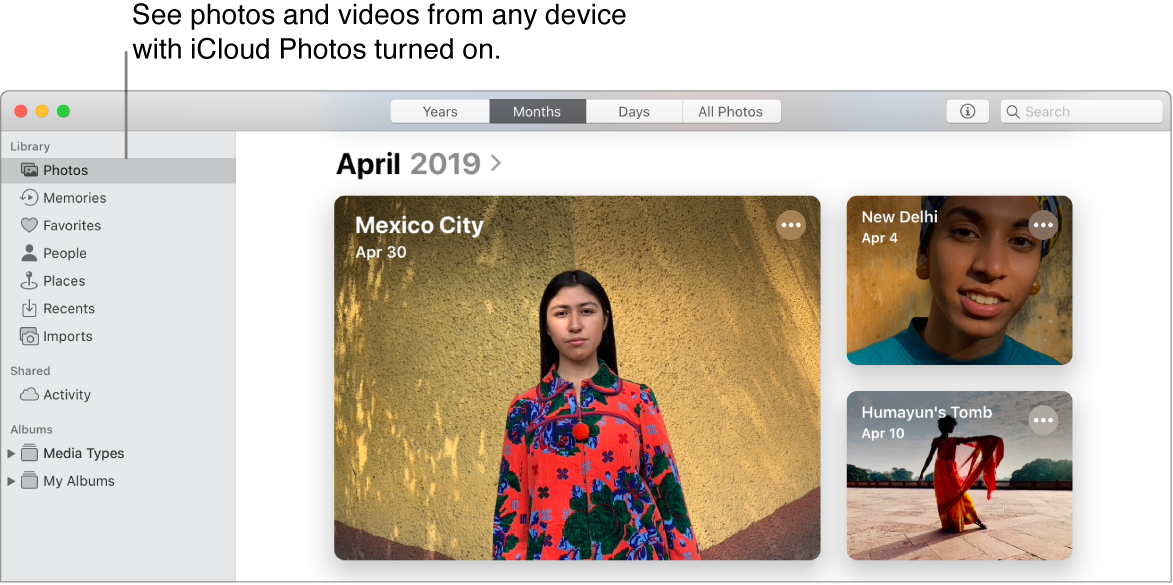 "The Photos app on Mac. ""Photos"" is selected in the sidebar and photos from April 2019 are visible. A line points to ""Photos"" with the callout: ""See photos and videos from any device with iCloud Photos turned on."""