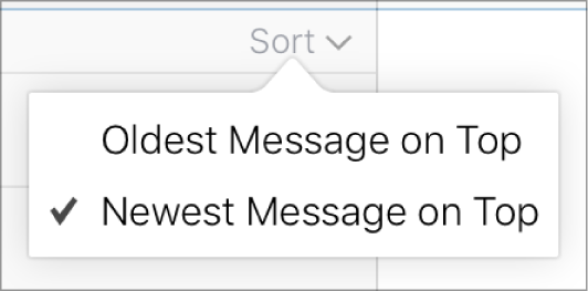 The Sort menu options: Oldest Message on Top and Newest Message on Top.
