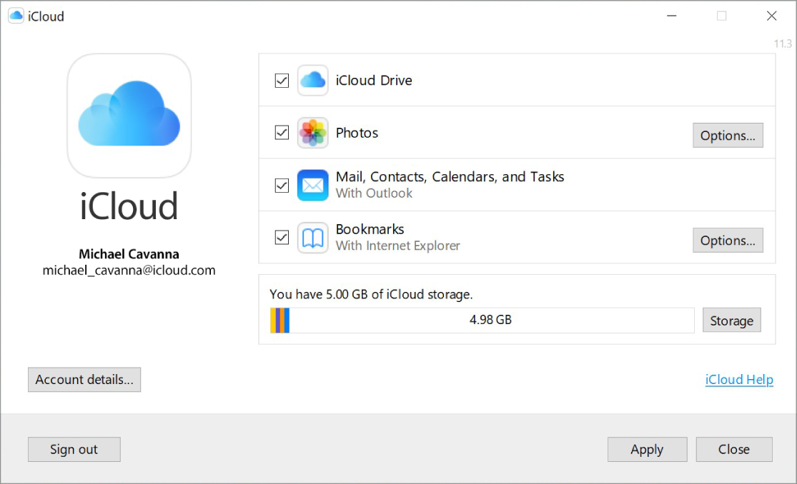 The iCloud for Windows app showing checkboxes next to iCloud features.