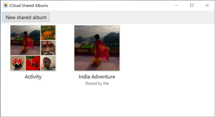 """The iCloud Shared Albums window from iCloud for Windows. Two albums are visible: Activity and India Adventure. India Adventure has """"Shared by Me"""" under the title."""