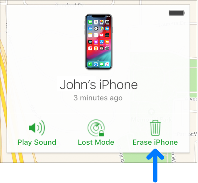 The Erase device button in the bottom-right corner of the device's Info window.