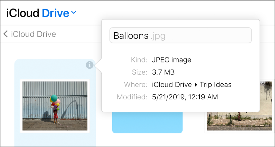 """iCloudDriveen tallennetun kuvan Tiedot-ruutu. Tiedostonimeä """"Balloons"""" voi muokata."""