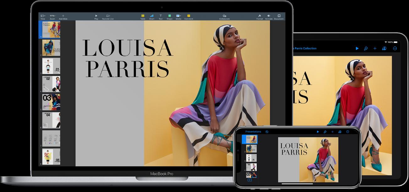 La même présentation Keynote s'affiche dans une fenêtre d'éditeur sur un iPhone, un iPad et un Mac.