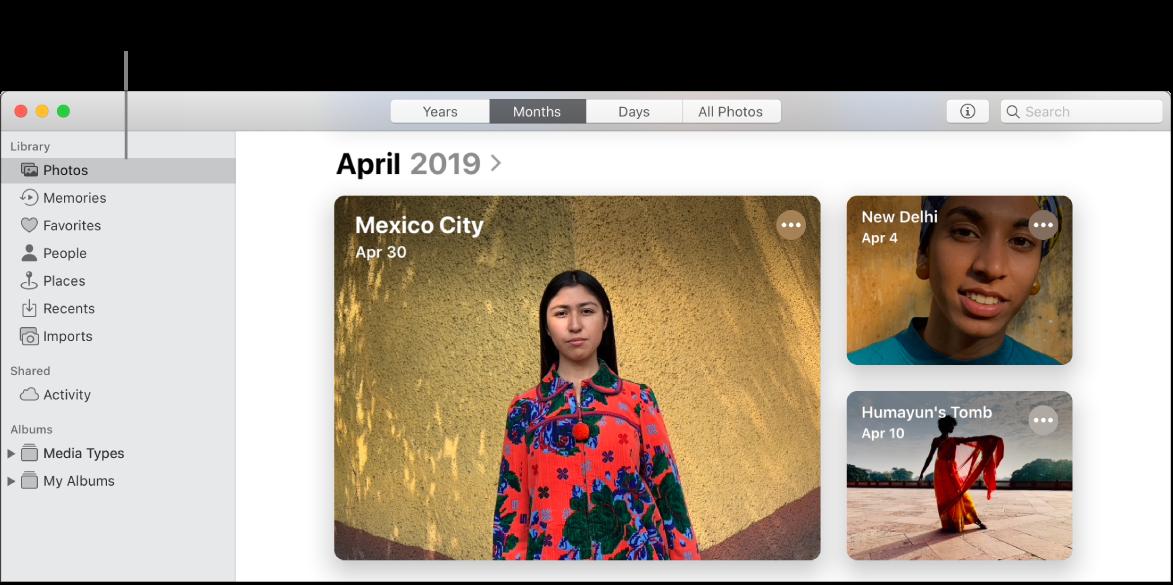 Mac의 사진 앱. '사진'이 사이드바에 선택되어 있고 2019년 4월 사진이 표시되어 있습니다. 'iCloud 사진이 켜진 기기에서 사진 및 비디오 보기' 호출이 있는 '사진'을 가리키는 라인.