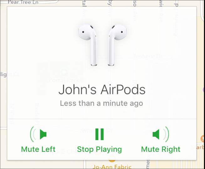 Przyciski Wycisz lewą, Zatrzymaj odtwarzanie iWycisz prawą woknie informacyjnym słuchawek AirPods.