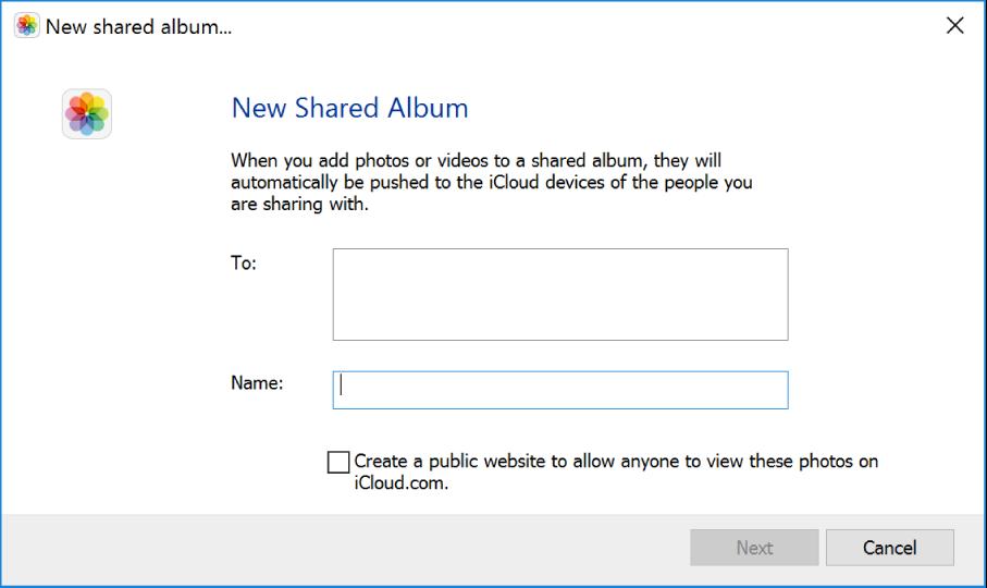 Okno Nowy udostępniany album na komputerze zsystemem Windows. Wszystkie pola są puste.