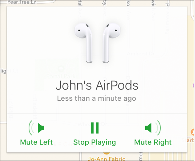Os botões Silenciar esquerdo, Parar reprodução e Silenciar direito na janela Info dos AirPods.
