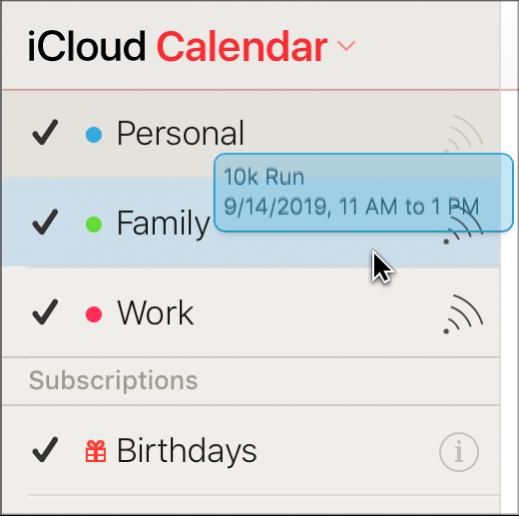 行程正從一個日曆拖曳至另一日曆。新日曆以反白顯示。