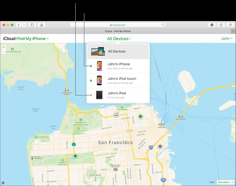 Mac 的 Safari 上開啟了 iCloud.com 的「尋找我的 iPhone」功能。舊金山地圖上顯示了三部裝置的位置。John 的 iPhone 與 John 的 iPod touch 處於連線狀態,顯示為綠點。John 的 iPad 已離線,顯示為灰點。