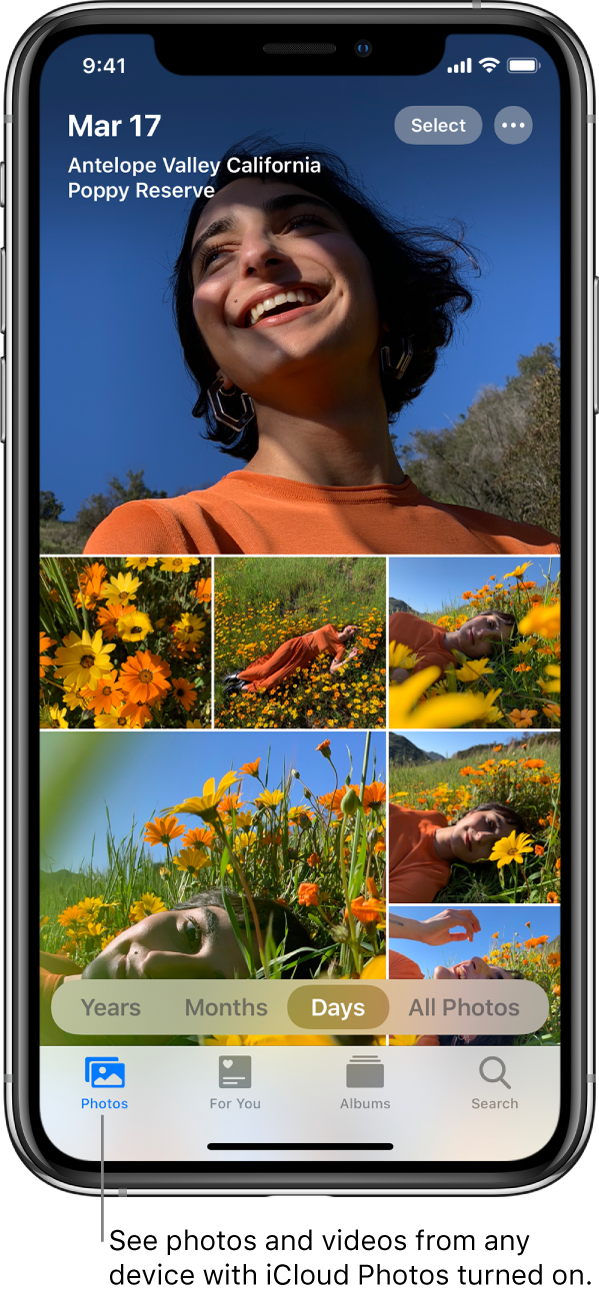 "The Photos app on an iPhone open to the Photos tab with the Days view selected. A line points to the Photos tab with the callout ""See photos and videos from any device with iCloud Photos turned on""."