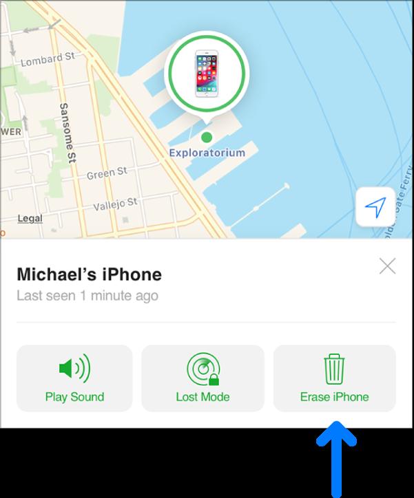デバイスの「情報」ウインドウの右下隅にある「消去」ボタン。
