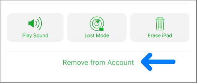 O botão Remover da conta.