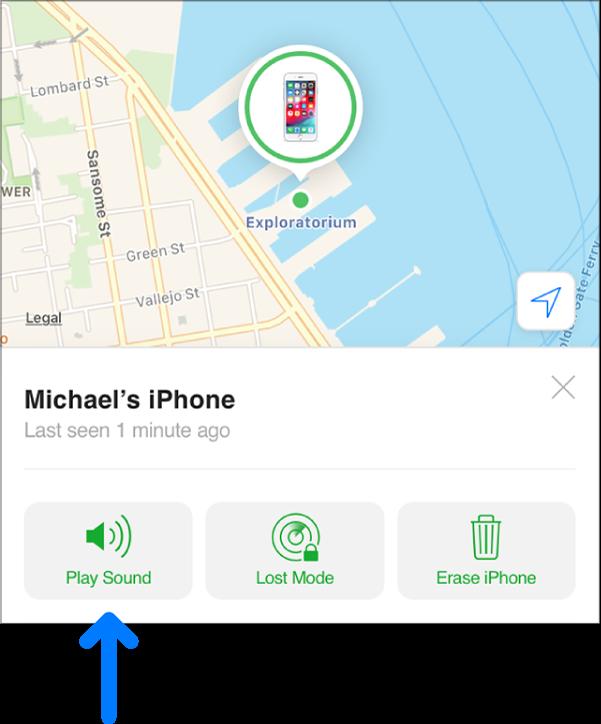Nút Phát âm thanh ở góc dưới cùng bên trái của cửa sổ Thông tin của thiết bị.
