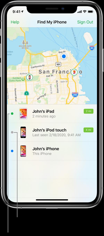 iPhone 上開啟了「尋找我的 iPhone」App。舊金山地圖上顯示了三部裝置的位置。John 的 iPad 處於連線狀態,因此顯示為綠點。John 的 iPod 已離線,因此顯示為灰點。John 的 iPhone 正在分享目前所在位置