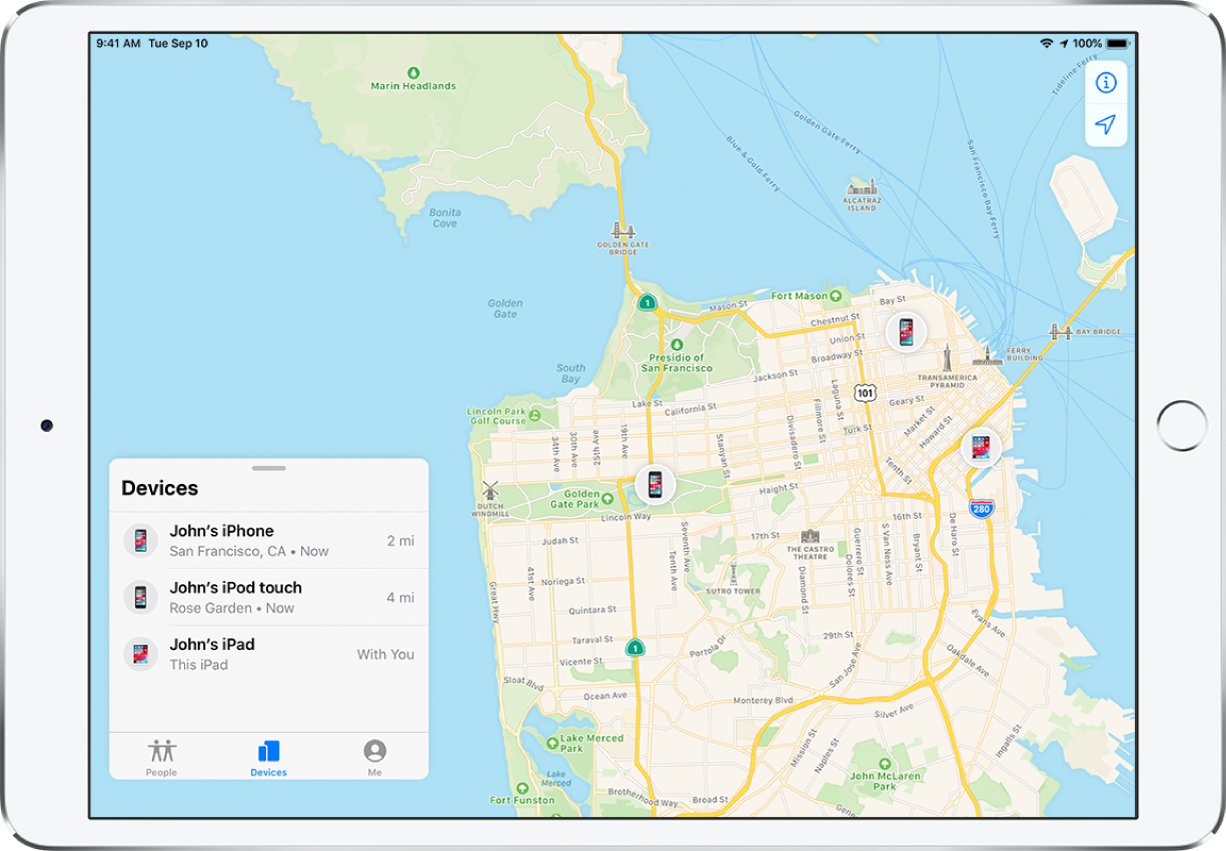 The Find My app open on an iPad. There are three devices in the Devices list: John's iPhone, John's iPodtouch and John's iPad. Their locations are shown on a map of San Francisco.