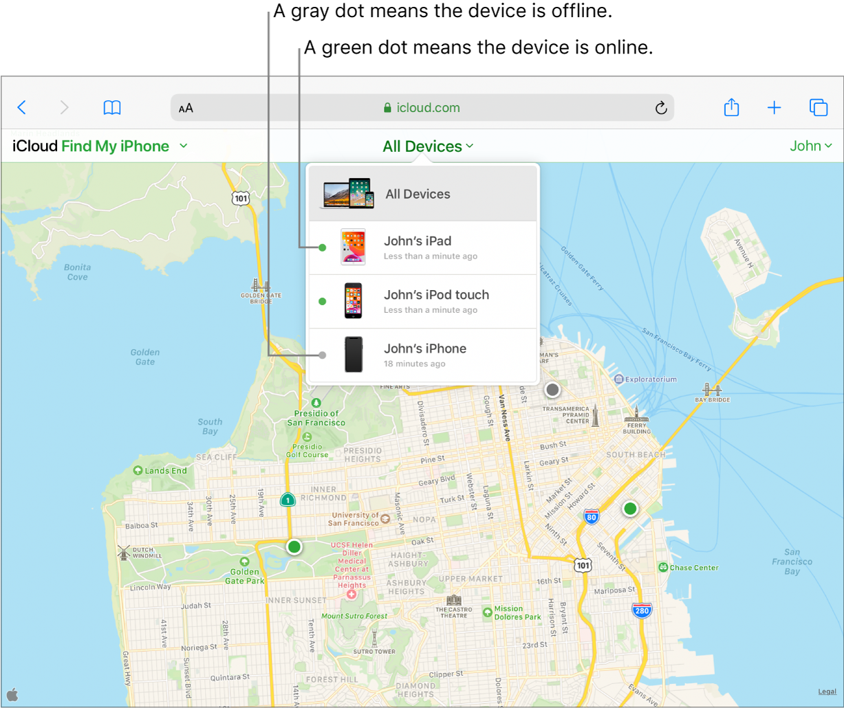 Find My iPhone on iCloud.com open in Safari on an iPad. The locations of three devices are shown on a map of San Francisco. John's iPad and John's iPod touch are online and indicated by green dots. John's iPhone is offline and indicated by a grey dot.