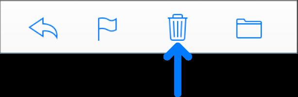 """टूलबार में """"चयनित संदेशों को डिलीट करें"""" बटन।"""